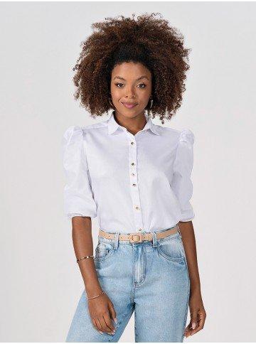 camisa branca com mangas 7 8 bufantes elmira frente