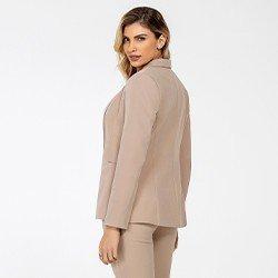 blazer feminino de alfaiataria caqui lenita mini costas