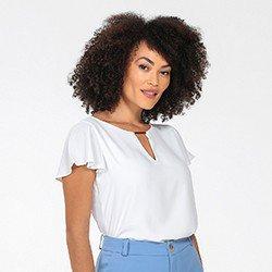 blusa feminina manga evase off white layane frente mini