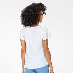 blusa feminina manga evase off white layane mini costas