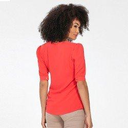 blusa manga bufante coral lilith mini costas