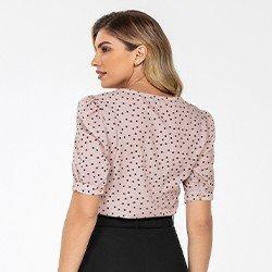 blusa manga bufante de poa lory mini costas