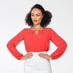 blusa manga longa coral lucinda mini frente
