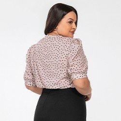 blusa plus size manga bufante de poa lory mini costas