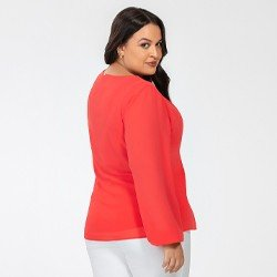 blusa plus size manga longa coral lucinda mini costas