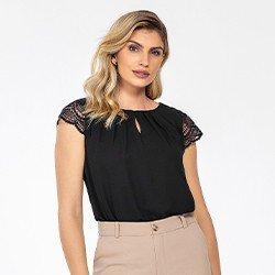 blusa preta com mangas rendadas lorraine frente mini