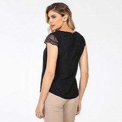 blusa preta com mangas rendadas lorraine mini costas