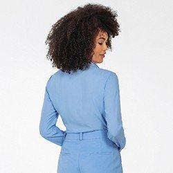 camisa feminina azul manga longa lays mini