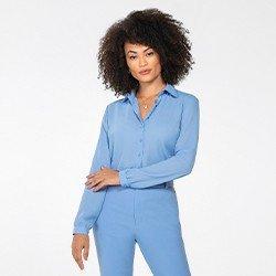camisa feminina azul manga longa lays mini frente
