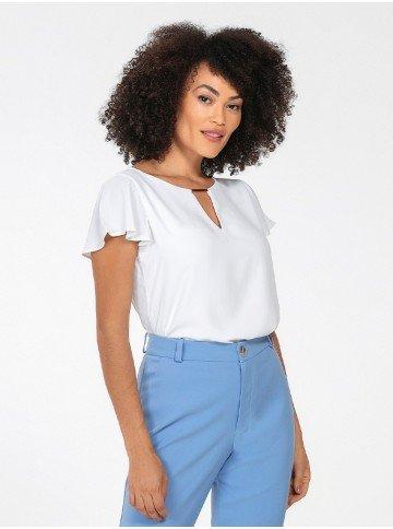 blusa feminina manga evase off white layane frente