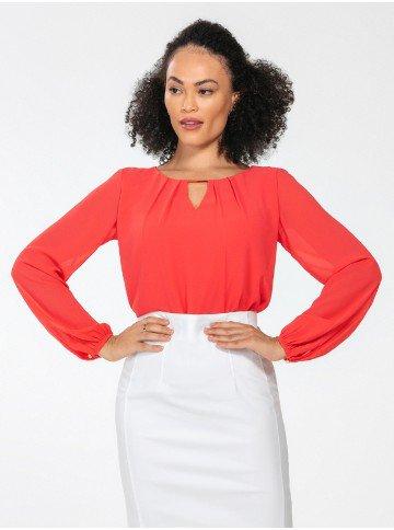 blusa manga longa coral lucinda frente