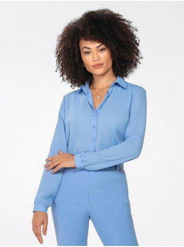 camisa feminina azul manga longa lays frente