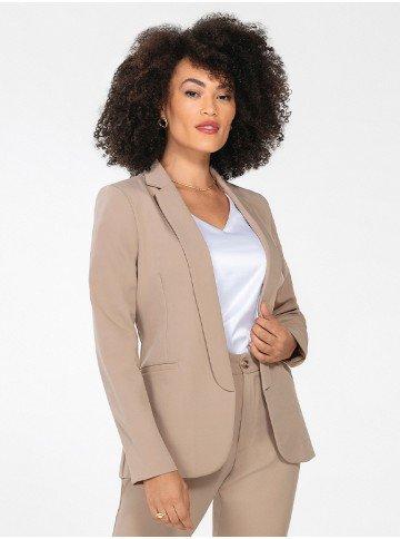 blazer feminino de alfaiataria caqui lenita frente 1