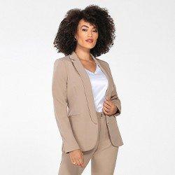 blazer feminino de alfaiataria caqui lenita mini frente11