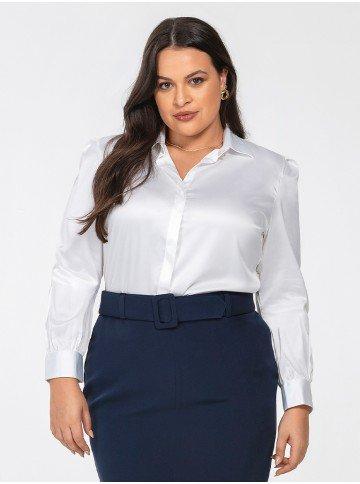 camisa branca de cetim leslie frente