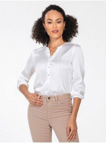 blusa de cetim off white manga jenny frente