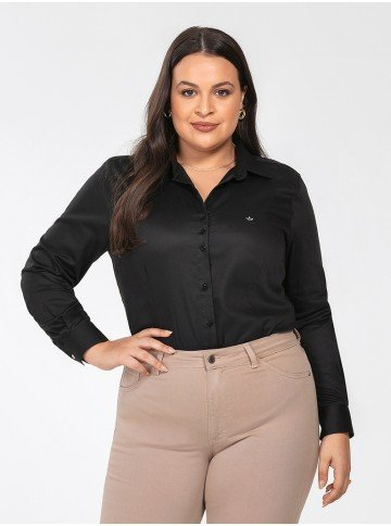 camisa social plus size preta personalizada charlie frente
