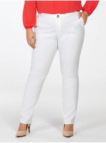 calca plus size de alfaiataria off white delany frente