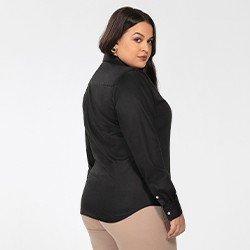 camisa social plus size preta personalizada charlie costas mini
