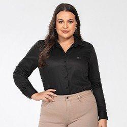 camisa social plus size preta personalizada charlie frente mini