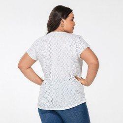 blusa plus size de laise off white samira costas mini