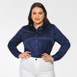 camisa plus size de cetim azul marinho jussara frente mini