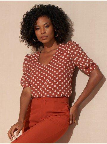 blusa de poa florence lookbook frente