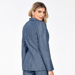 blazer jeans feminino manga longa megan costas mini