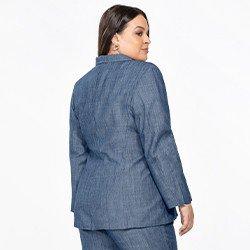 blazer jeans plus size feminino manga longa megan costas mini