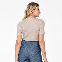 blusa areia manga curta decote v angelica costas mini