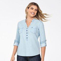 blusa jeans feminina decote v desiree frente mini