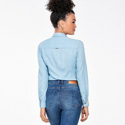blusa jeans feminina manga longa matilde costas mini
