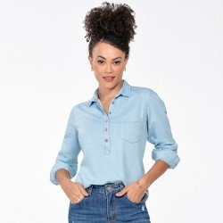 blusa jeans feminina manga longa matilde frente mini