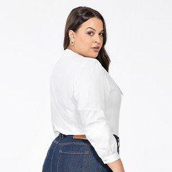 blusa manga longa bufante plus size off white marilia costas mini