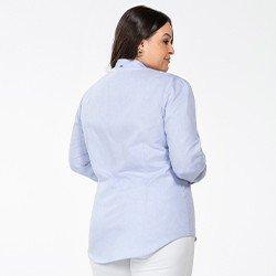 camisa azul claro plus size manga longa bufante magda costas mini