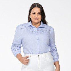camisa azul claro plus size manga longa bufante magda frente mini