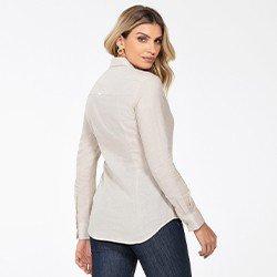 camisa feminina de linho areia constanza costas mini