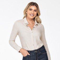 camisa feminina de linho areia constanza frente mini