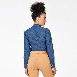 camisa feminina jeans manga longa maisa costas mini