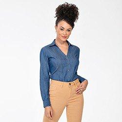 camisa feminina jeans manga longa maisa frente mini