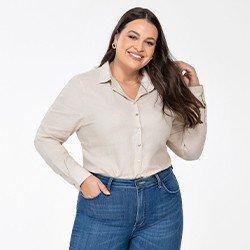 camisa feminina plus size de linho areia constanza frente mini