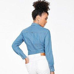 camisa jeans azul feminina manga longa monica costas mini