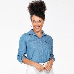 camisa jeans azul feminina manga longa monica frente mini
