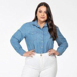 camisa jeans azul feminina plus size manga longa monica frente mini
