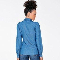 camisa jeans com manga longa bufante monique costas mini