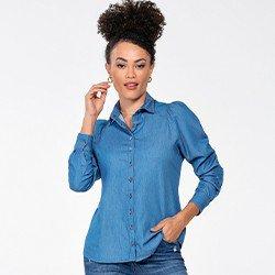 camisa jeans com manga longa bufante monique frente mini