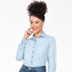 camisa jeans manga longa azul claro meire frente mini