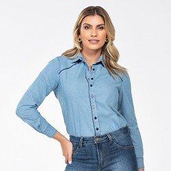 camisa jeans manga longa monalisa frente mini
