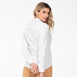 camisa social feminina manga longa milene costas mini