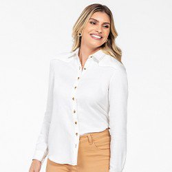 camisa social feminina manga longa milene frente mini